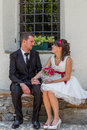 Wedding couple bride and groom in the day Royalty Free Stock Photos