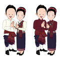 Wedding couple cartoon, bride and groom in north-east thai traditional dress