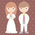 Wedding couple cartoon vector illustration Stock Photo