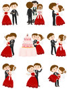 Wedding couple in different actions Royalty Free Stock Photo