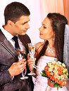 Wedding couple drinking champagne happy Royalty Free Stock Photos