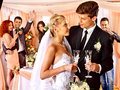 Wedding couple drinking champagne happy Stock Photo