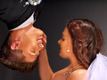 Wedding couple face to face happy concept Royalty Free Stock Photography