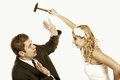 Wedding couple in fight conflict bad relationships having argument angry women fury bride and groom isolated on white Royalty Free Stock Image