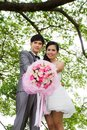 Wedding couple with flower Royalty Free Stock Photo