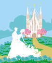 Wedding couple in front of a church illustration Stock Photo