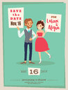 wedding couple groom and bride cartoon wedding card template Royalty Free Stock Photo