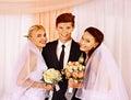 Wedding couple holding flower happy bouquet Royalty Free Stock Photo