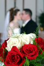 Wedding Couple Kissing Stock Images