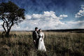 Wedding couple laughing artistic vintage paper effect photo of a in the field beautiful clouds and scenery Stock Photo