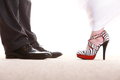 Wedding couple legs of the groom and the bride feet in footwear shoes indoor Stock Photo
