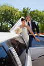 Wedding Couple with Limousine Stock Image