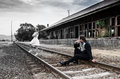Wedding couple new married on railway road Royalty Free Stock Photography
