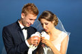 Wedding couple with pigeons Royalty Free Stock Photo