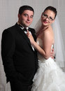 Wedding couple portrait young studio Royalty Free Stock Photography