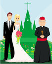 Wedding couple and the priest in front of a church illustration Royalty Free Stock Images