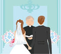 Wedding couple and the priest