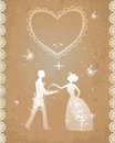 Wedding couple in retro style sparkling and shining fireflies as symbol of happiness and romance eps Stock Images