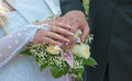 Wedding couple showing rings a newly wed place their hands on a bouquet Stock Photography