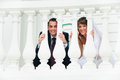 Wedding couple smile and look out from white baluster love tenderness feeling Stock Photos