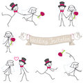 Wedding couple stickman bride and groom set of vector stick figures stick man Stock Images