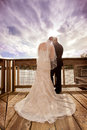 Wedding Couple with Storm Clouds Royalty Free Stock Photo