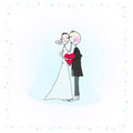 Wedding couple vector illustration cute holding red heart Royalty Free Stock Photos