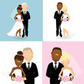 Wedding couples set of of caucasian and african bride and groom Stock Image