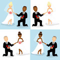 Wedding couples set of of caucasian and african bride and groom Royalty Free Stock Photography