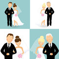 Wedding couples set of of caucasian bride and groom Stock Photography