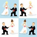 Wedding couples set of of caucasian bride and groom Royalty Free Stock Photos