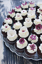 Wedding cupcakes with fondant flower decorations Stock Photos