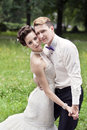 Wedding dance of bride and groom outdoor Stock Images