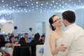 Wedding dance bride and groom at the party Stock Photo