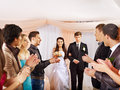 Wedding dance group people clap their hands Stock Image