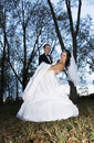 Wedding Dance in the Woods Royalty Free Stock Image