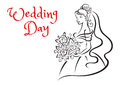 Wedding day card template with young bride greeting depicting silhouette of graceful roses in her hands and hair outline sketch Stock Image