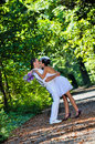 Wedding day a couple just married in the having a photo session in the forest Royalty Free Stock Photo