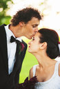 Wedding day kiss groom kissing bride Stock Image
