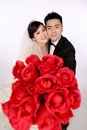Wedding day of young asian couple Stock Photography