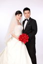 Wedding day of young asian couple Royalty Free Stock Photo