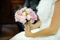 Wedding decor beautiful wedding bouquet pink peonies hands bride Stock Images