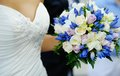 Wedding decor beautiful wedding bouquet roses hands bride Royalty Free Stock Image