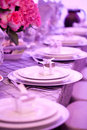 Wedding decor table setting and flowers Royalty Free Stock Photo