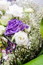 Wedding decoration background with beautiful blue and white lisianthus and roses Stock Photos