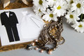 Wedding decoration and flowers card necklace white Stock Photo