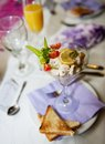 Wedding decoration fresh table at day Royalty Free Stock Photography