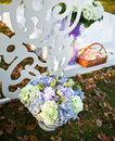 Wedding decoration in garden sunny autumn day Royalty Free Stock Image