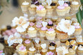 Wedding decoration with pastel colored cupcakes, meringues, muffins and macarons. Elegant and luxurious event arrangement