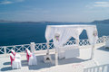 Wedding decoration on Santorini Island, a popular wedding destin Royalty Free Stock Photo